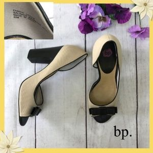 BP. Open Toe Suede Heels with Black Bow